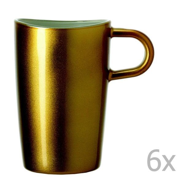 Sada 6 zlatých metalických hrnčekov na macchiato LEONARDO Loop, 365 ml