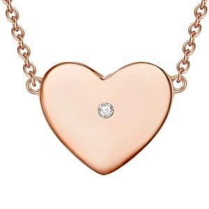 Strieborný náhrdelník vo farbe ružového zlata s pravým diamantom Tess Diamonds Floriana, dĺžka 40 cm
