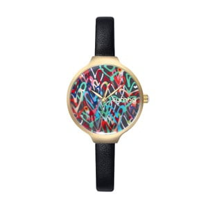 Dámske čierne hodinky s koženým remienkom Rumbatime Orchard Love