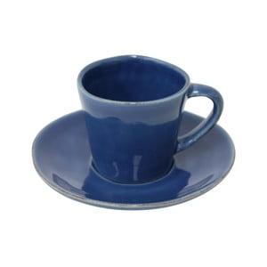 Modrý kameninový hrnček s tanierikom Costa Nova Denim, 70ml