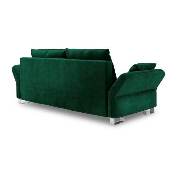 Tmavozelená trojmiestna rozkladacia pohovka so zamatovým poťahom Windsor & Co Sofas Pyxis