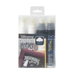 Sada 4 bielych a čiernych vodoodolných kriedových fixiek Securit® Large Waterproof Chalkmarker
