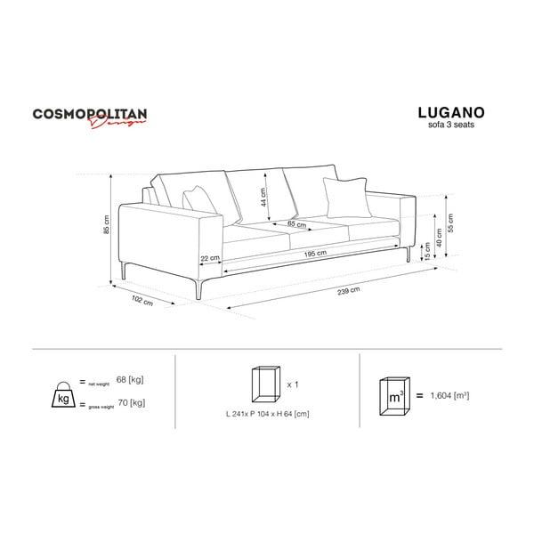Sivá trojmiestna pohovka Cosmopolitan Design Lugano