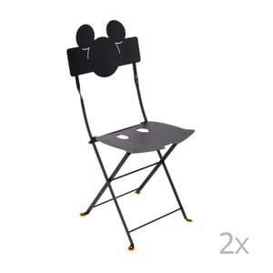 Sada 2 čiernych kovových záhradných stoličiek Fermob Bistro Mickey