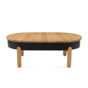 Prírodno-čierny odkladací stolík z dubového dreva s úložným priestorom Woodendot Batea L
