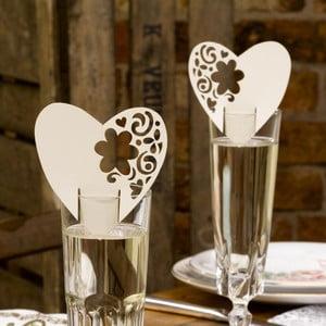 Sada 10 krémovobielych dekorácií na poháre Neviti With Love