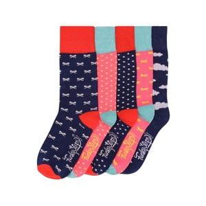 Sada 5 párov farebných ponožiek Funky Steps Bowties, veľ. 35-39