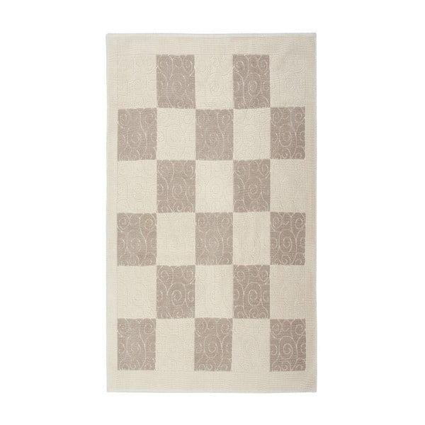 Krémový bavlnený koberec Floorist Check, 100x200cm
