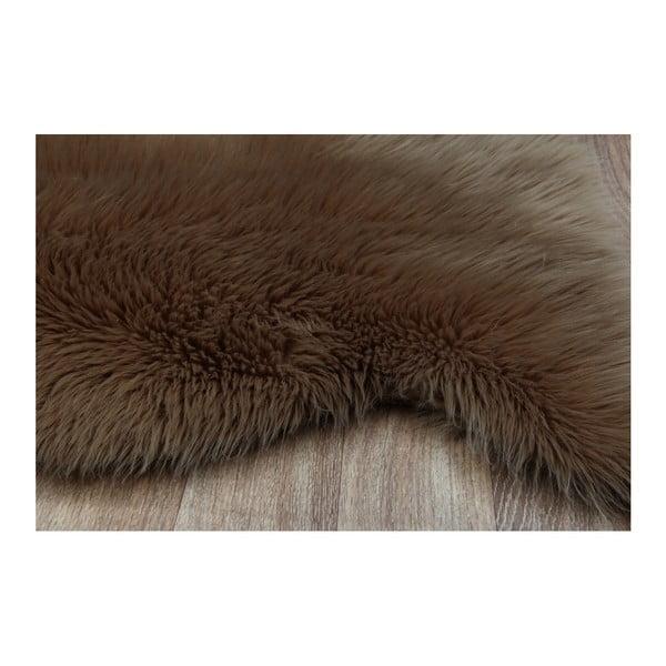 Hnedý koberec z umelej kožušiny New Tekli, 70 x 100 cm