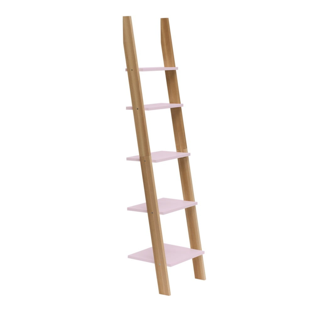 Svetloružová rebríková polica Ragaba ASHME, šírka 45 cm