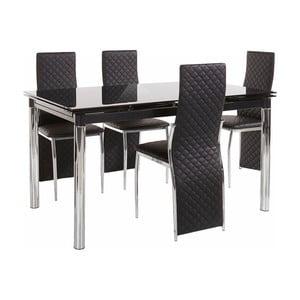 Set jedálenského stola a 4 čiernych jedálenských stoličiek Støraa Pippa William Black
