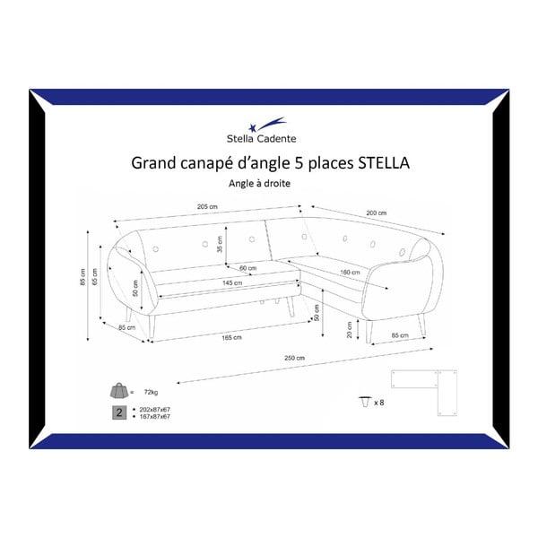 Pohovka Stella Grand Black s leňoškou na pravej strane