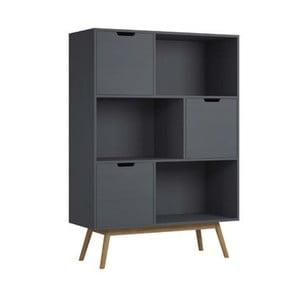Sivá knižnica z borovicového dreva SOB Van