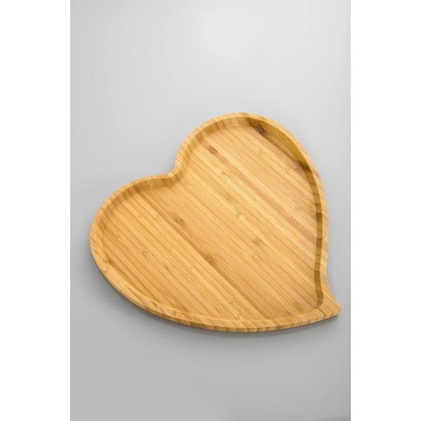 Bambusový servírovací podnos Bambum Amor, 27cm