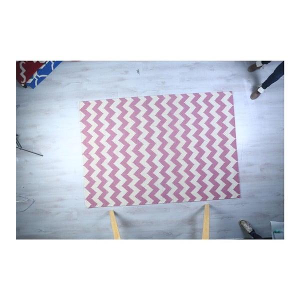 Vlnený koberec Geometry Zic Zac Pink & White, 160x230 cm