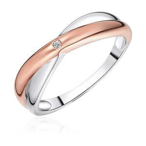 Strieborný prsteň s detailmi vo farbe ružového zlata s pravým diamantom Tess Diamonds Amaia, veľ. 58