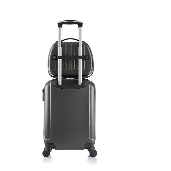 Sivý cestovný kufor s príručnou batožinou Bluestar