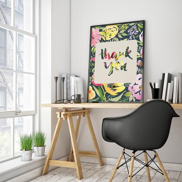 Plagát s kvetmi Thank You, farebné pozadie, 30 x 40 cm