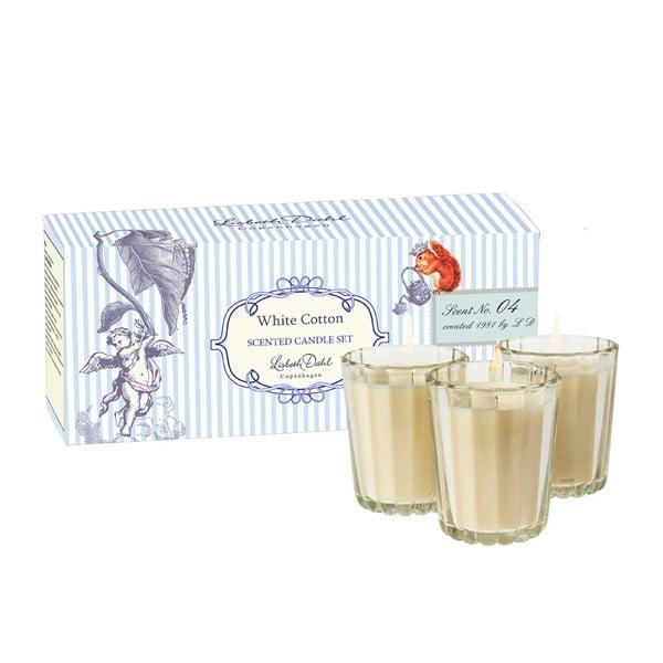 Sada 3 vonných sviečokk White Cotton od Lisbeth Dahl