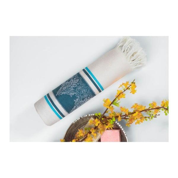 Tyrkysovo-béžová hammam osuška Deco Bianca Loincloth Dark Blue/Turquoise, 80x170cm