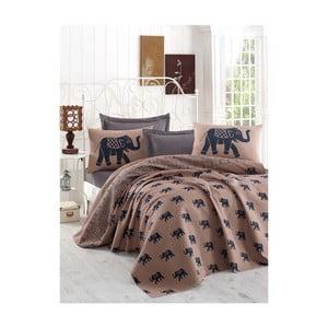 Hnedá ľahká prikrývka cez posteľ Fil, 160x235cm