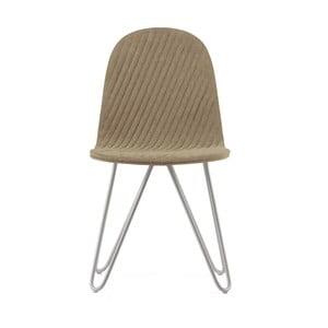 Béžová stolička s kovovými nohami IKER Mannequin X Stripe