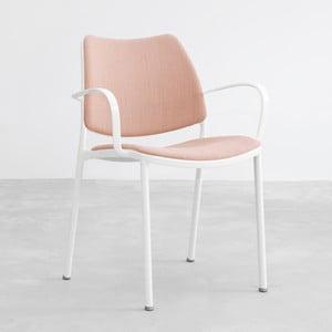 Ružová stolička s bielymi nohami Stua Gas