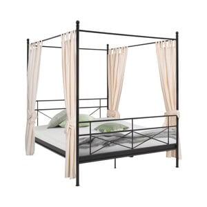 Čierna kovová posteľ Støraa Tanja Canopy, 180 x 200 cm