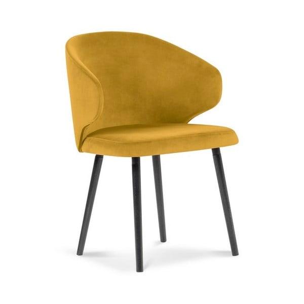 Žltá jedálenská stolička so zamatovým poťahom Windsor & Co Sofas Nemesis