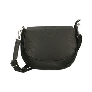 Čierna kožená kabelka Chicca Borse Rosso