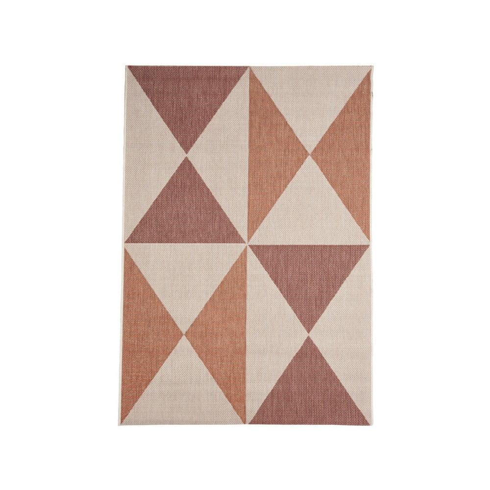 Béžovo-oranžový vonkajší koberec Floorita Geo, 135 × 190 cm