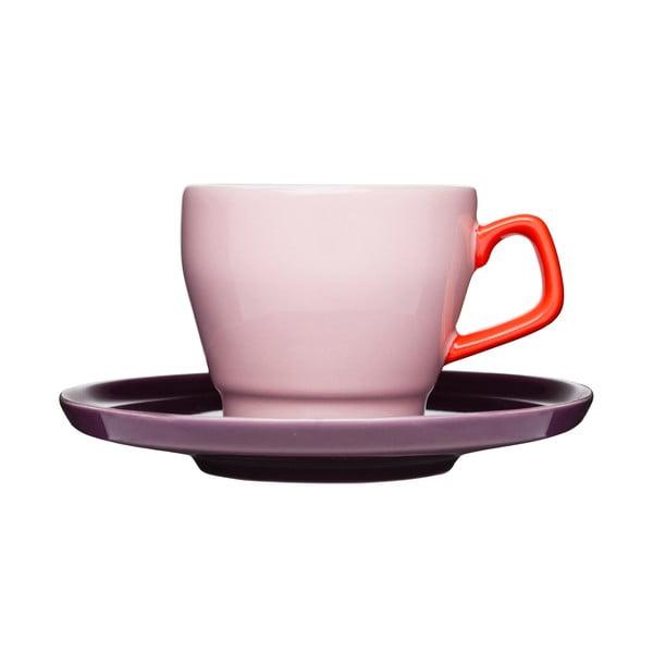 Šálka s tanierikom Sagaform Pop, ružová/fialová