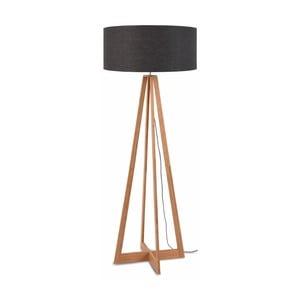 Stojacia lampa s tmavosivým tienidlom a konštrukciou z bambusu Good&Mojo Everest
