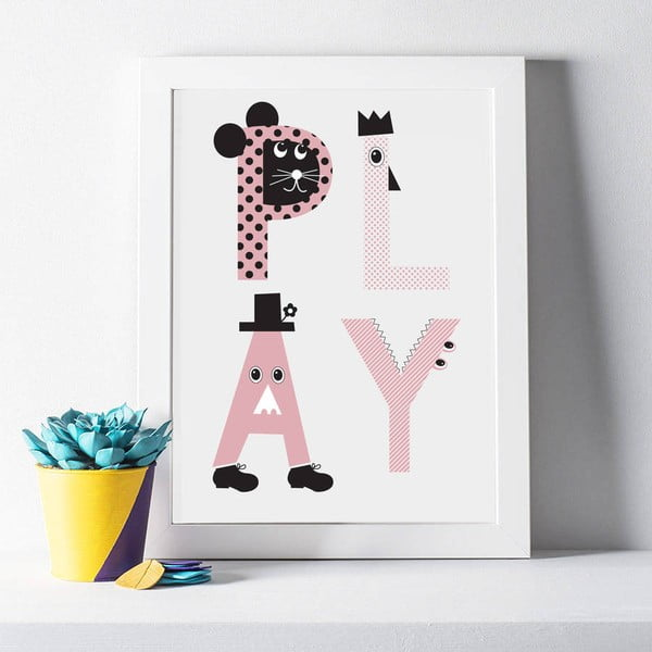 Plagát Play Pink, 30x40 cm