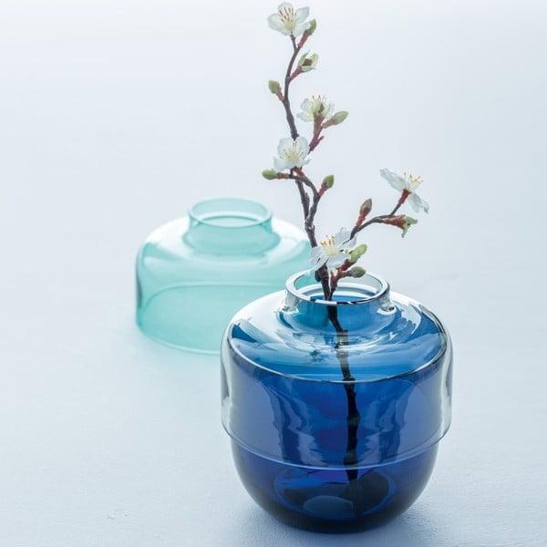 Sada 2 sivo-modrých sklenených váz LEONARDO Fusione