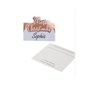 Sada 10 vianočných papierových menoviek na stôl vo farbe ružového zlata Neviti Merry Christmas