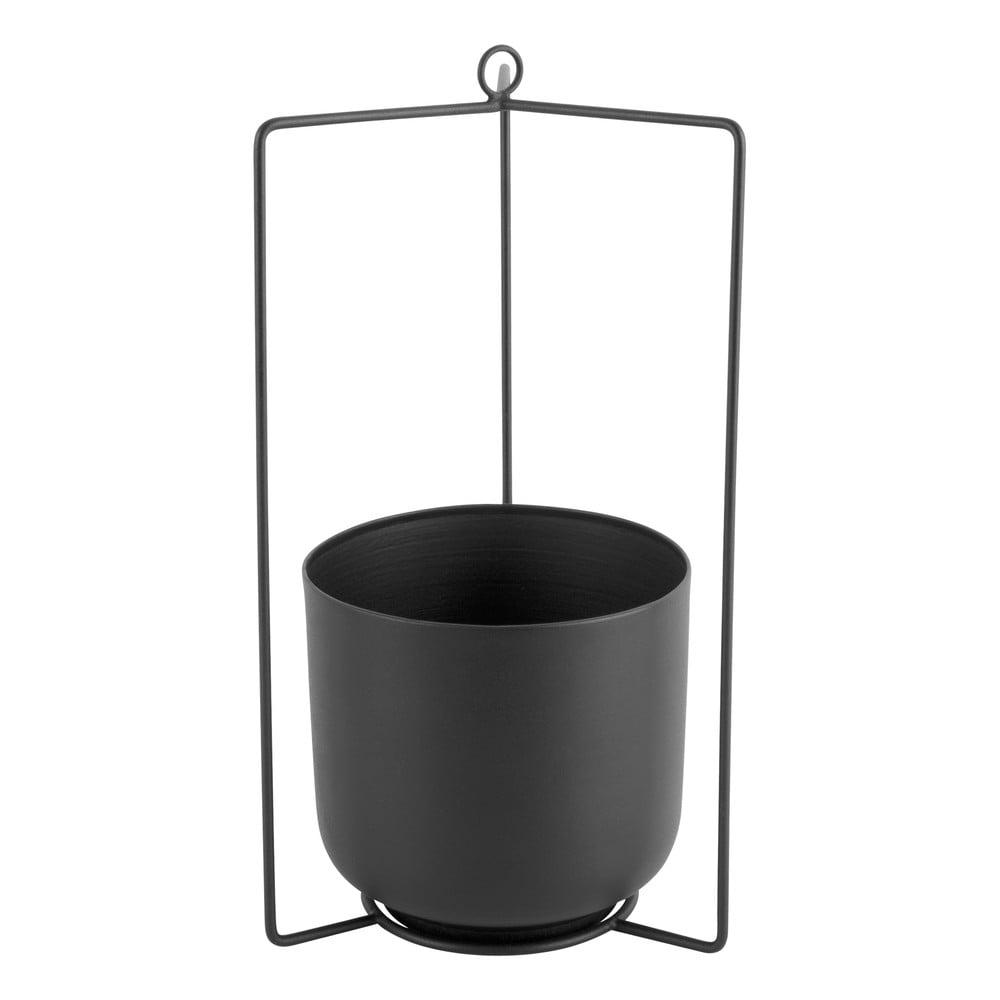 Čierny kovový závesný kvetináč PT LIVING Spatial, výška 36 cm