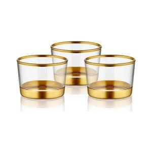 Sada 3 sklenených servírovacích misiek v zlatom dekóre The Mia Glam