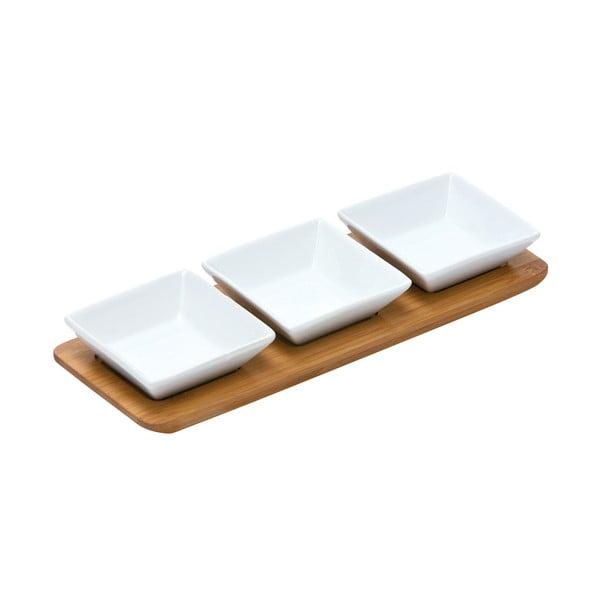 Sada 3 servírovacích misiek na bambusovej tácke Premier Housewares Snacks