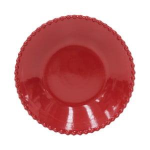 Rubínovočervený kameninový tanier na polievku Costa Nova Pearl, ⌀24 cm