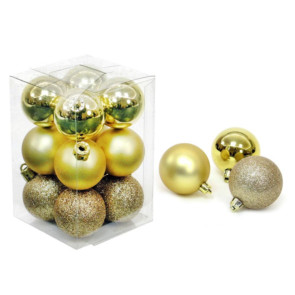Sada 12 vianočných ozdôb v zlatej farbe Unimasa Navidad