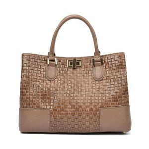 Béžová kožená kabelka Carla Ferreri Misma Renna