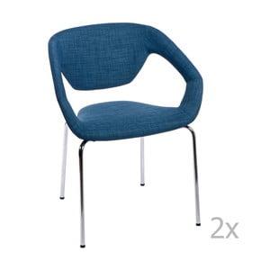 Sada 2 stoličiek D2 Space, čalúnené, modré