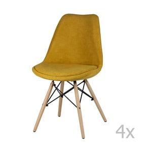 Sada 4 žltých jedálenských stoličiek sømcasa Lindy