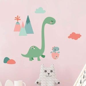 Nástenné detské samolepky Ambiance Mum and Baby Dinosaur