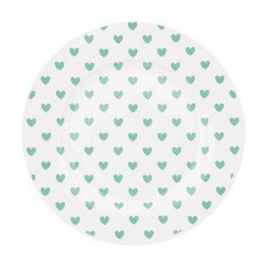 Keramický tanier Miss Étoile Emerald Hearts, ⌀ 25 cm