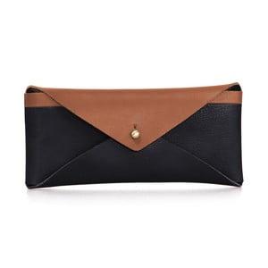 Čierno-hnedé kožené puzdro na okuliare O My Bag
