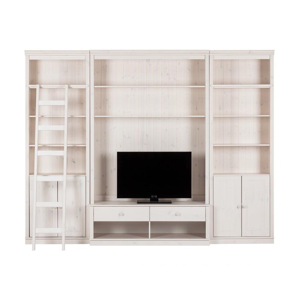 Biela TV stena z borovicového masívu Støraa Annabelle, šírka 288 cm