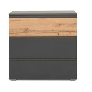 Komoda v drevenom dekore s 3 zásuvkami a antracitovosivými detailmi Intertrade Image