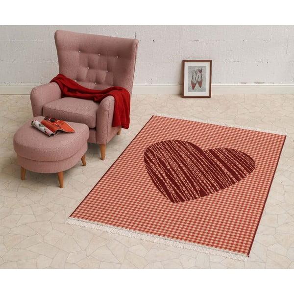 Koberec Fringe - červené srdce, 140x200cm